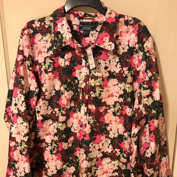 Lands End NWT Womens Size 2 Blue Floral No Iron Supima Cotton Shirt Button